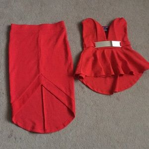 Other - Beautiful Bright Red Co-ord top and skirt